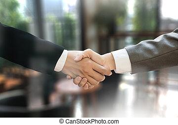m&a, (mergers, et, acquisitions), homme affaires, poignée main, travailler, bureau, m&a