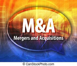 m&a, słowo, akronim, ilustracja, bańka mowy