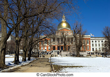 MA State House - Massachussets State House in Boston Common,...