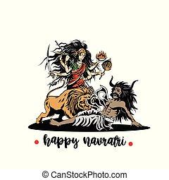 maa, kali, gudinde, navaratri., illustration