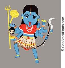 Cartoon Kali Illustration Hindu Goddess Kali Cartoon