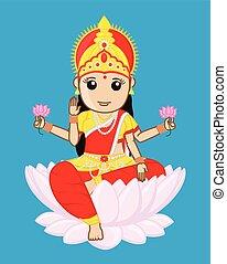 maa, laxmi, diosa, -, riqueza