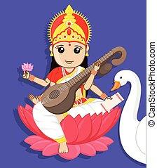 maa, saraswati, indio, -, diosa