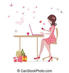 maakt, meisje, shoppen , draagbare computer