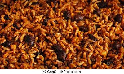 maaltijd, bonen, rijst, ronddraaien