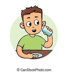 maaltijd., plat, eten, illustration., kleurrijke, jonge, vrijstaand, achtergrond., vector, ontwerp, icon., witte , man