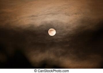 maan, bewolkt, nacht
