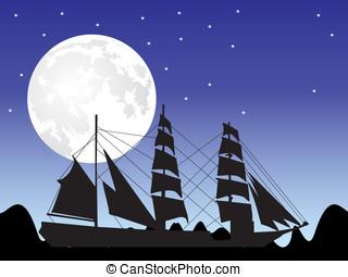 maan, en, scheeps , silhouette