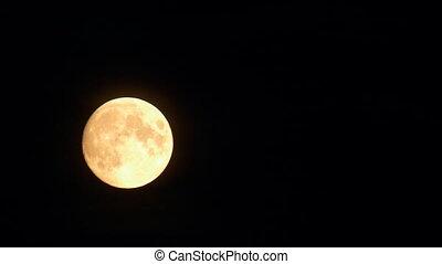 maan, het verbergen, door, de, wolken