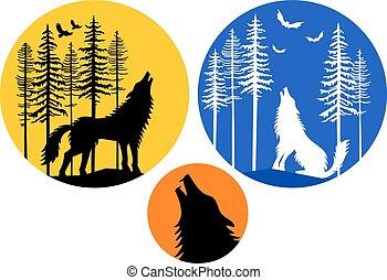 maan, huilend, set, wolf, vector