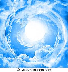 maan, in, blauwe hemel