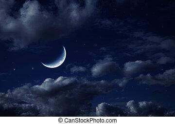 maan, in, de, nacht, bewolkte hemel, met, sterretjes