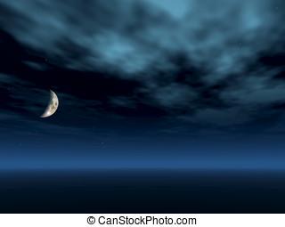 maan lucht, halvemaan, nacht