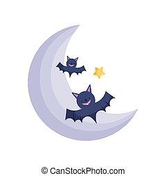 maan, pictogram, ster, knuppels, vrolijke , behandelen, truc, halloween, of
