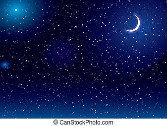 maan, ruimte, scape
