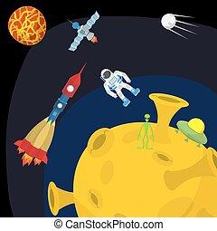 maan, ruimte, vector, rocket., landscape:, ufo, illustration., alien.