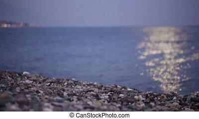 maan, steegjes, op, strand