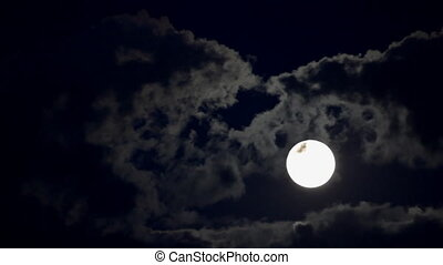 maan, verhuizing, tussen, wolken