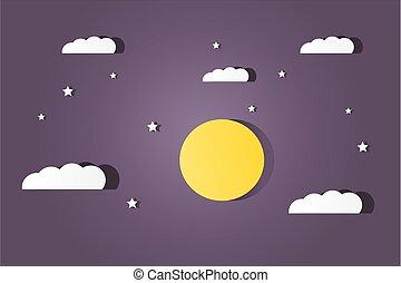 maan, wolken, sterretjes
