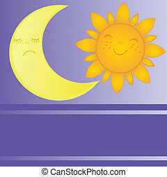 maan, zon stel, dag, nacht