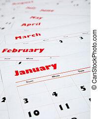 maandelijks, kalenders, stapel