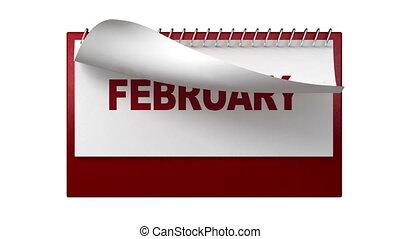 maandelijks, witte , draaien, pagina's, cal
