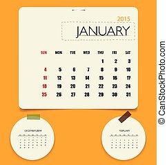 maandelijks, ziek, january., kalender, vector, mal, 2015,...