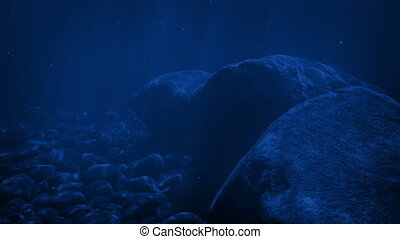 maanlicht, onderwater, rotsen, rippling