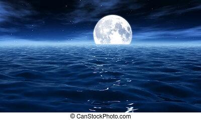 maanlicht, op, de, zee, /, oceaan, hd, 033