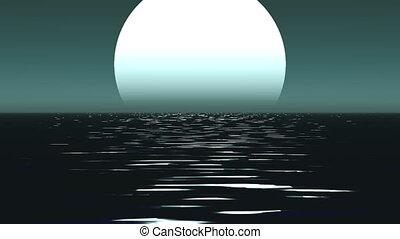 maanlicht, steegjes, met, laag, dwaas, maan, boven, de, zee
