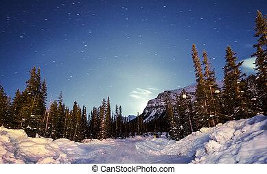 maanstijging, in, bergen, in, winter