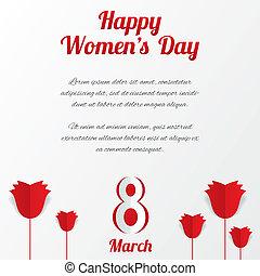 maart, text., vrouwen, rozen, 8, dag, kaart