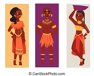 Maasai african people cards in traditional clothing happy...