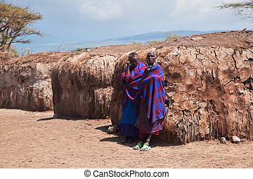maasai, národ za, jejich, vesnice, do, tanzania, afrika