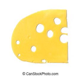 Maasdam cheese slice isolated