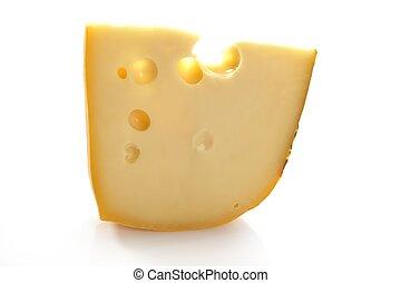 Maasdam swiss cheese slice isolated on white