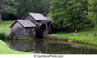 Restored watermill, Mabry Mill on the Blue Ridge Parkway in Virginia, USA is a part of the Blue Ridge Mountains and operated by the National Park Service.