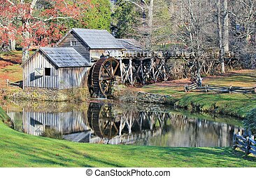 Mabry Mill Reflection - Mabry Mill, a restored gristmill on...