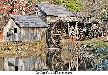 Mabry Mill Reflection - Mabry Mill is an old grist mill on...
