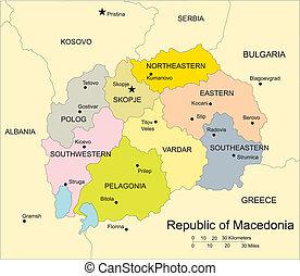macédoine, districts, capitaux, administratif, entourer, pays