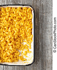 close up of rustic macaroni and cheese