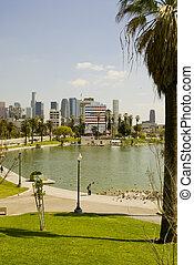 Mac Arthur Park and downtown, Los Angeles, Ca
