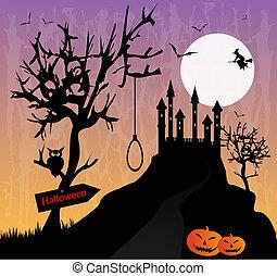 vector macabre landscape with castle