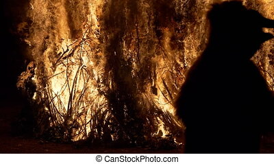 A bear dancing near a bonfire during ?Giubiana? (a traditional celebration in the northern Italian on which a puppet of an old witch is burnt) - 30 January 2020, Canzo (Italy)