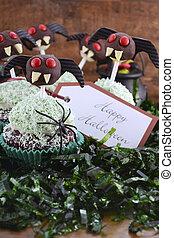 macabro,  Cupcakes,  Halloween, feliz