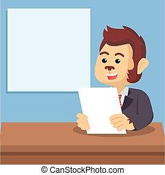 macaco, âncora notícia, ilustração, desenho