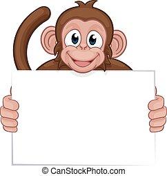 macaco, animal, personagem, sinal, segurando, caricatura