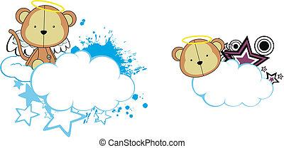 macaco, anjo, criança, caricatura, copysapce