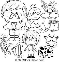 macaco, beanstalk, pretas, page., branca, magia, fairytale, coloração, collection., vetorial