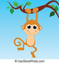 macaco, céu, abstratos, árvore, fundo, penduradas
